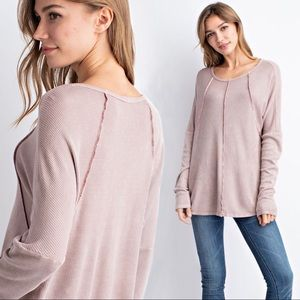 NEW! Mauve Exposed Seam Waffle Knit Thermal Top